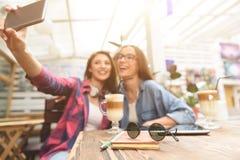 Deux jeunes amis prenant le selfie Photos stock