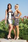 Deux jeunes beaux femmes en stationnement Photographie stock libre de droits