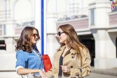 Deux jeunes belles femmes heureuses dans des lunettes de soleil Image stock