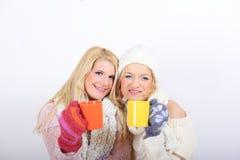 Deux jeunes belles filles de l'hiver avec la cuvette de thé Photographie stock libre de droits