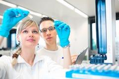 Deux jeunes chercheurs effectuant des expériences dans un laboratoire photos stock