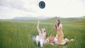 Deux jeunes femmes attirantes ont le pique-nique sur le pré - l'une d'entre elles jette son chapeau dans le ciel clips vidéos