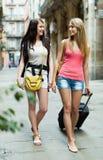 Deux jeunes femmes avec le bagage Image stock