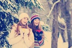 Deux jeunes femmes avec les tasses colorées buvant le thé extérieur et le smil Photo libre de droits