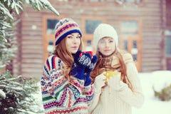 Deux jeunes femmes avec les tasses colorées buvant le thé extérieur et le smil Photos stock
