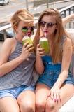 Deux jeunes femmes ayant l'amusement et buvant le cocktail dans le jour d'été Image libre de droits
