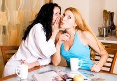 Deux jeunes femmes de bavardage dans la cuisine Images libres de droits