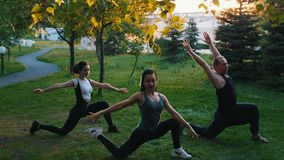 Deux jeunes femmes faisant des asanas de yoga avec l'entraîneur en parc au soleil - une femme a de longs dreadlocks bleus banque de vidéos
