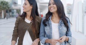 Deux jeunes femmes flânant en bas d'une promenade Images stock