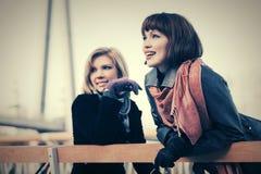 Deux jeunes femmes heureuses de mode extérieures Images libres de droits