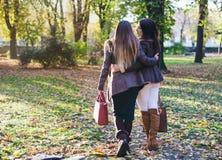 Deux jeunes femmes heureuses flânant le bras dans le bras Photographie stock libre de droits