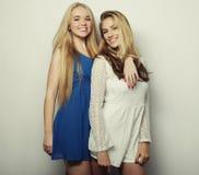 Deux jeunes femmes sexy dans la robe de mode d'été Photographie stock libre de droits