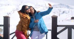 Deux jeunes femmes sexy posant pour un selfie Image stock
