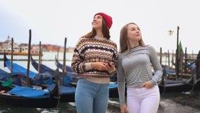 Deux jeunes femmes sur la promenade avec des bateaux parlant et souriant banque de vidéos