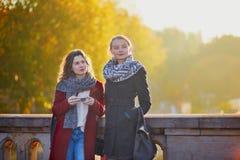 Deux jeunes filles marchant ensemble à Paris Images libres de droits
