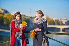 Deux jeunes filles marchant ensemble à Paris Image libre de droits