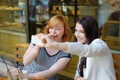 Deux jeunes filles prenant un selfie Photographie stock