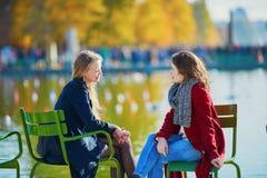 Deux jeunes filles un jour ensoleillé d'automne Images libres de droits