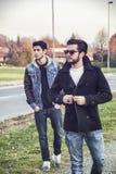 Deux jeunes hommes beaux, amis, en parc Image stock