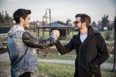Deux jeunes hommes beaux saluant en parc Images stock