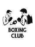 Deux jeunes hommes de boxe Illustration noire et blanche de vecteur Images libres de droits