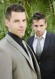 Deux jeunes hommes de costume posant regardant la vue Image libre de droits