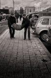 09/10/2015 - Deux jeunes hommes luttent pour porter un grand et lourd sac de pomme de terre Images stock