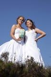 Deux jeunes mariées avec la boule de rugby sur le fond de ciel bleu Photographie stock
