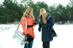 Deux jolies filles heureuses marchant dans le bois du pin Photographie stock libre de droits