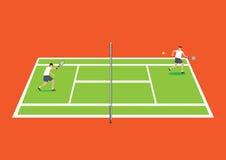 Deux joueurs de tennis ayant un jeu dans le vecteur de bande dessinée de court de tennis illustration de vecteur