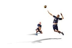 Deux joueurs de volleyball professionnels d'isolement sur le blanc Photo libre de droits