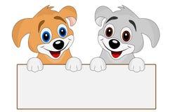 Deux joyeux chiens tiennent une bannière propre Images libres de droits