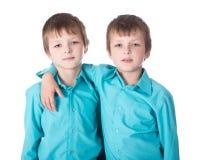 Deux jumeaux de petits garçons sur le blanc Image stock