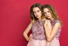 Deux jumeaux de soeurs posant dans le studio Photos stock