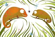 Deux lézards colorés puérils avec des insectes dedans illustration stock