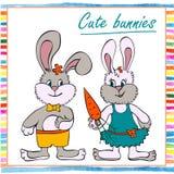 Deux lapin de petit garçon et de fille Photo stock
