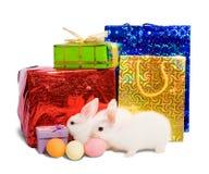 Deux lapins blancs avec des cadeaux Images stock