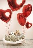 Deux lapins dans la scène romantique avec des ballons Photos stock