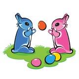 Deux lapins de Pâques Photographie stock