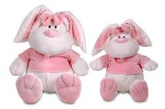 Deux lapins roses de jouet Image libre de droits