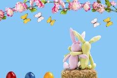 Deux lapins sur une balle de paille avec des oeufs, des fleurs et des papillons de pâques Images libres de droits