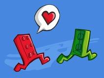 Deux Lego dans l'amour Photo stock