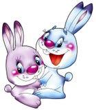 Deux lièvres gais. Image stock