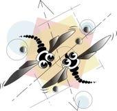Deux libellules géométriques illustration stock
