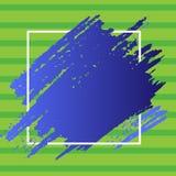 Deux lignes de Tone Smudges Going Beyond Square Éraflure Mark Passing Over et sous le contour La peinture bleue a enduit dessus illustration de vecteur