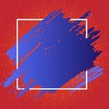Deux lignes de Tone Smudges Going Beyond Square Éraflure Mark Passing Over et sous le contour La peinture bleue a enduit dessus illustration libre de droits