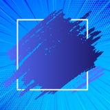 Deux lignes de Tone Smudges Going Beyond Square Éraflure Mark Passing Over et sous le contour La peinture bleue a enduit dessus illustration stock
