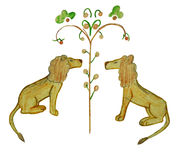 Deux lions illustration stock