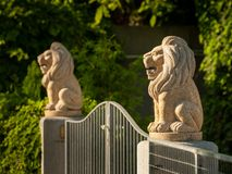 Deux lions en pierre sur des piliers gardant l'entrée d'un jardin image libre de droits
