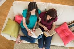 Deux livres de lecture d'amis sur le divan Photos stock